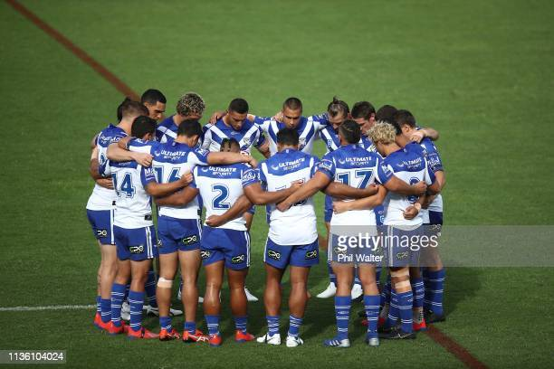 The Bulldogs observe a moments silence for the victims of the Christchurch mosque shootings during the round 1 NRL match between the New Zealand...