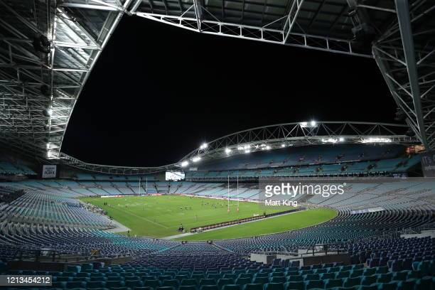 The Bulldogs score the opening try in front of an empty stadium during the round 2 NRL match between the Canterbury Bulldogs and the North Queensland...