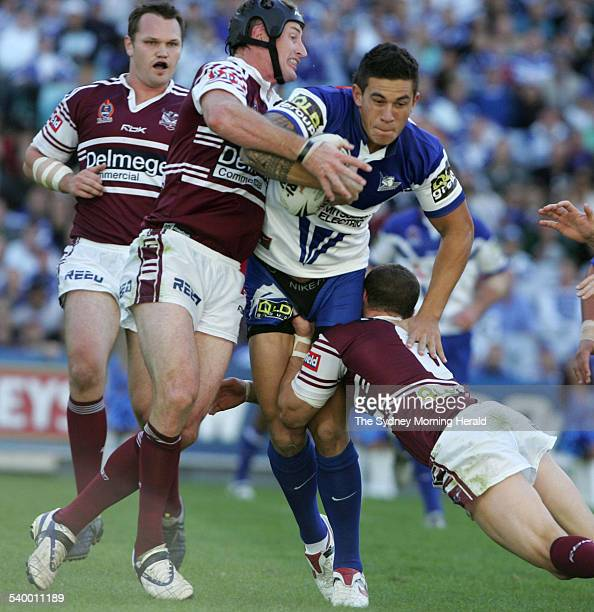 The Bulldogs' Sonny Bill Williams is tackled during the NRL Round 7 match between the Manly Sea Eagles and Canterbury Bulldogs 23 April 2006 SMH...
