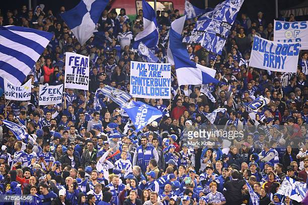 The Bulldogs supporters celebrate a try during the round 16 NRL match between the Canterbury Bulldogs and the Melbourne Storm at Belmore Sports...