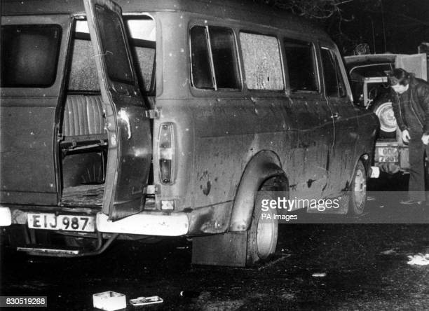 The bullet riddled minibus near Whitecross in South Armagh where 10 Protestant workmen were shot dead by IRA terrorists * 7/1/2001 Stormont First...