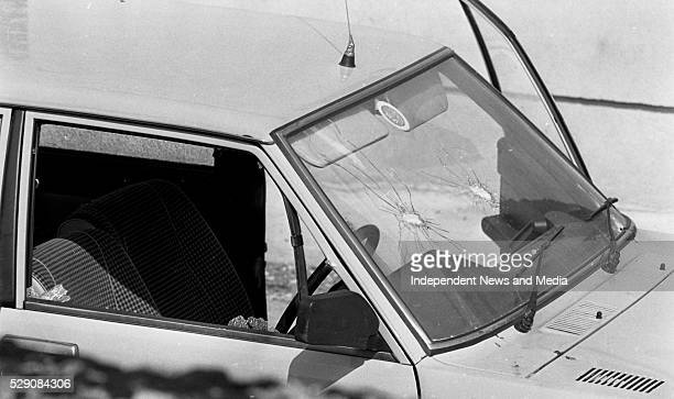 The bullet shattered front window of the unmarked Garda car in which Detective Garda Frank Hand was killed in during the raid on the Drumree Post...