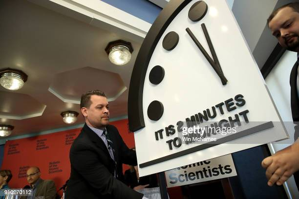 The Bulletin of the Atomic Scientists unveil the 2018 'Doomsday Clock' January 25 2018 in Washington DC Citing growing nuclear risks and unchecked...