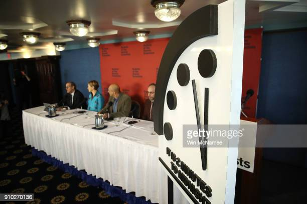 The Bulletin of the Atomic Scientists unveil the 2018 Doomsday Clock January 25 2018 in Washington DC Citing growing nuclear risks and unchecked...