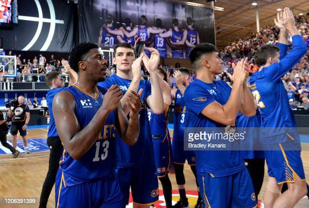The Bullets celebrate victory after the round 20 NBL match between the Brisbane Bullets and the Cairns Taipans at Nissan Arena on February 15, 2020...