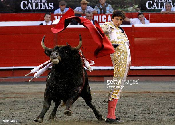 The bullfighter Andres Roca Rey fights with Inc—ognito of 440kg during the second bullfight during the second bullfight as part of the Manizales Fair...