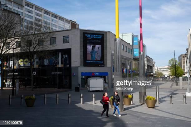 The Bullring and city centre virtually deserted under coronavirus lockdown on 15th April 2020 in Birmingham, England, United Kingdom. Coronavirus or...