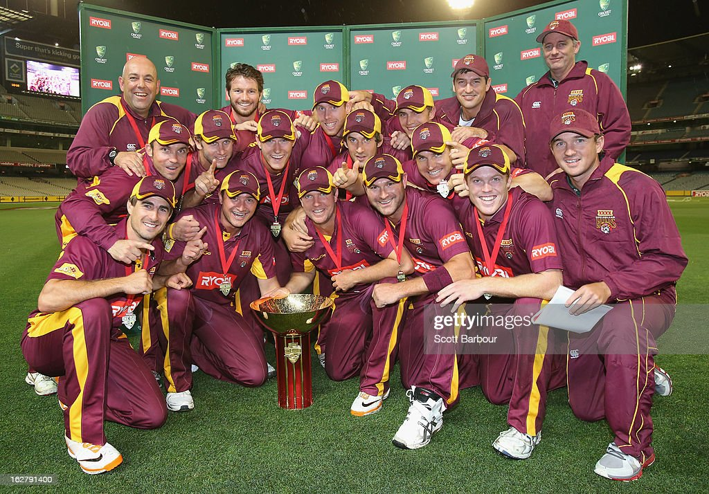 The Bulls pose with the Ryobi One Day Cup after winning the Ryobi One Day Cup final match between the Victorian Bushrangers and the Queensland Bulls at Melbourne Cricket Ground on February 27, 2013 in Melbourne, Australia.