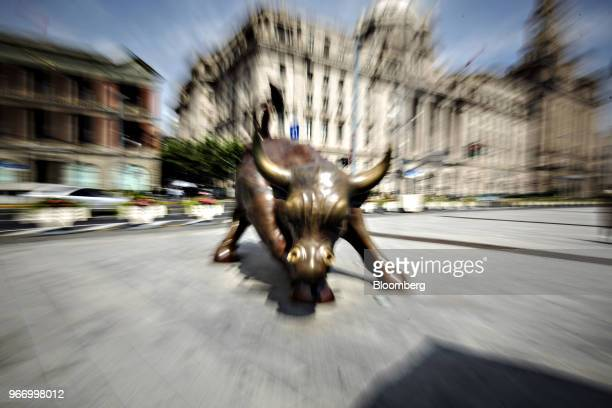 The Bund Bull statue stands in Shanghai China on Saturday June 2 2018 China's banks scrambling to adjust to the government's deleveraging campaign...