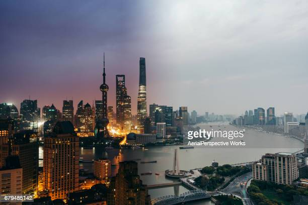 the bund, shanghai skyline, night to day - time of day stock pictures, royalty-free photos & images