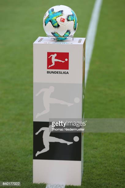 The Bundesliga ball is displayed prior to the Bundesliga match between VfB Stuttgart and 1 FSV Mainz 05 at MercedesBenz Arena on August 26 2017 in...