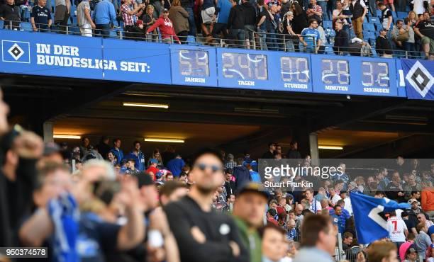The Bundesliga clock ticks during the Bundesliga match between Hamburger SV and SportClub Freiburg at Volksparkstadion on April 21 2018 in Hamburg...