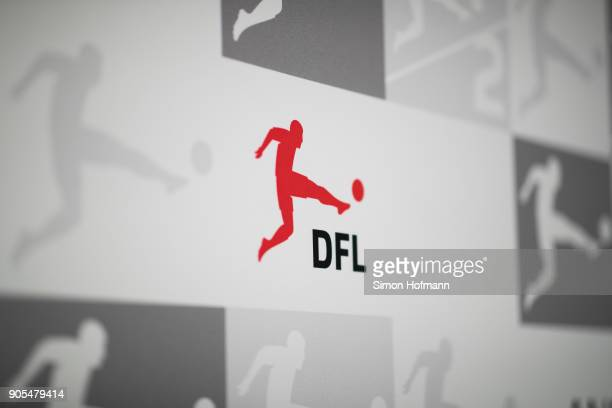 The Bundesliga logo is seen prior to the 2018 DFL New Year Reception at Thurn & Taxis Palais on January 16, 2018 in Frankfurt am Main, Germany.