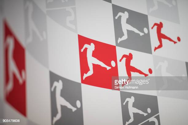 The Bundesliga logo is seen prior to the 2018 DFL New Year Reception at Thurn Taxis Palais on January 16 2018 in Frankfurt am Main Germany