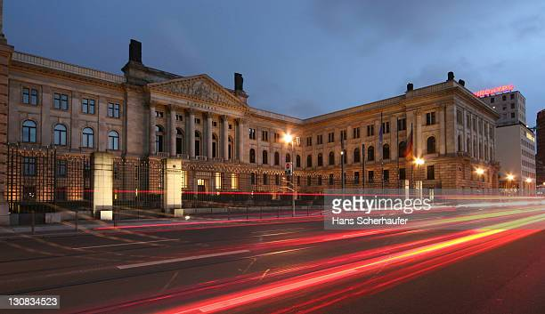 The Bundesrat, German Federal Council, Building on a busy street at dusk, Berlin, Germany, Europe