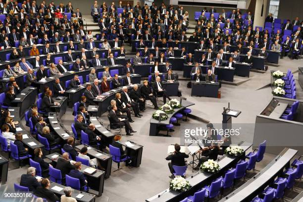 The Bundestag plenary hall during the memorial ceremony for late former Bundestag President Philipp Jenninger in the Bundestag plenary halon January...