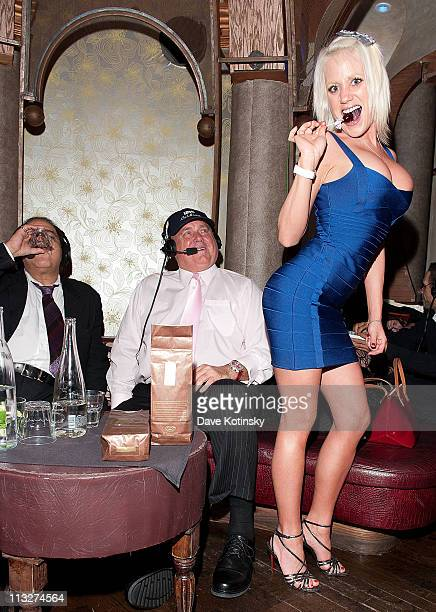 The Bunny Ranch's Dennis Hof and Cami Parker attend the book launch party for The Gods of Greenwich at Kiss Fly on April 28 2011 in New York City