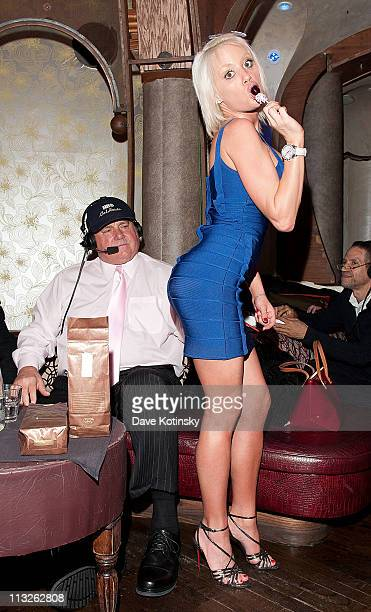 The Bunny Ranch's Dennis Hof and Cami Parker attends the book launch party for The Gods of Greenwich at Kiss and Fly on April 28 2011 in New York City