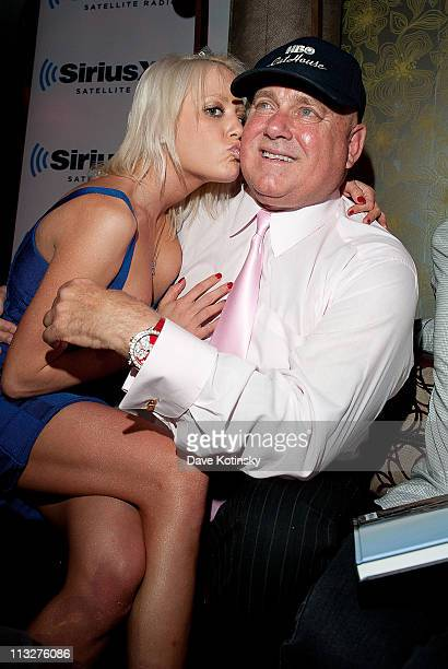 The Bunny Ranch's Dennis Hof and Cami Parker attends the book launch party for The Gods of Greenwich at Kiss Fly on April 28 2011 in New York City