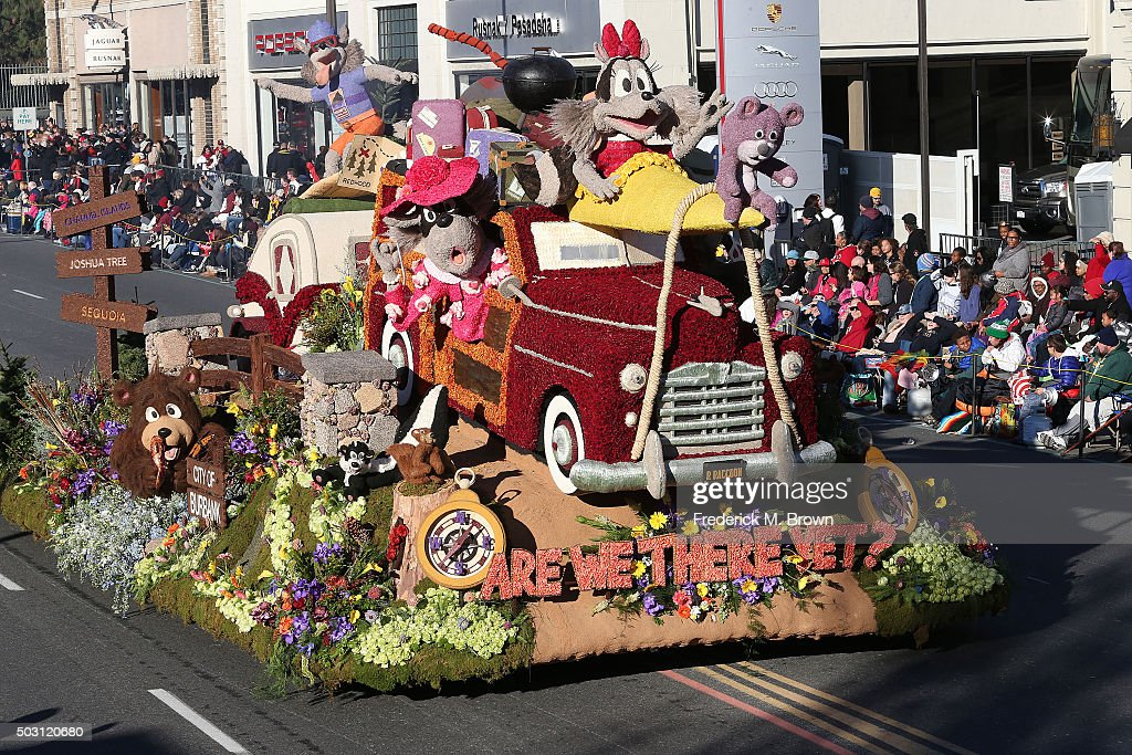 The Burbank Tournament of Roses Association float winner of the Theme Award on the parade route during the 127th Tournament of Roses Parade Presented by Honda on January 1, 2016 in Pasadena, California.