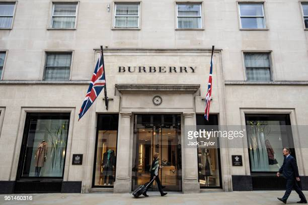 The Burberry store stands in Mayfair on April 26 2018 in London England The designer for Meghan Markle's wedding dress has yet to be announced ahead...