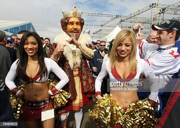 The Burger King mascot stands outside the stadium prior to the kickoff of Super Bowl XLII between the New York Giants and the New England Patriots at...