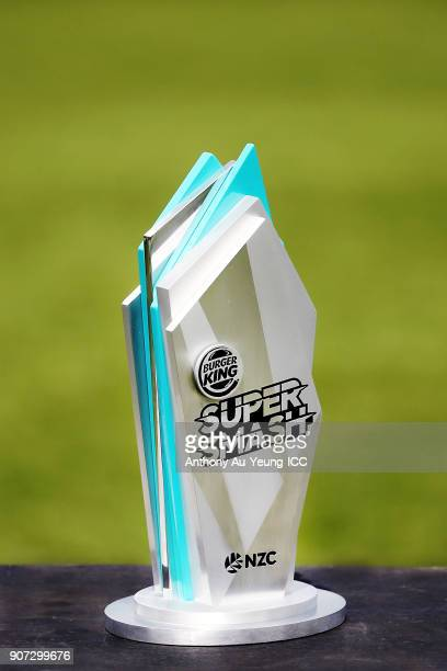 The Burger King Super Smash Trophy is seen prior to the Super Smash Grand Final match between the Knights and the Stags at Seddon Park on January 20...