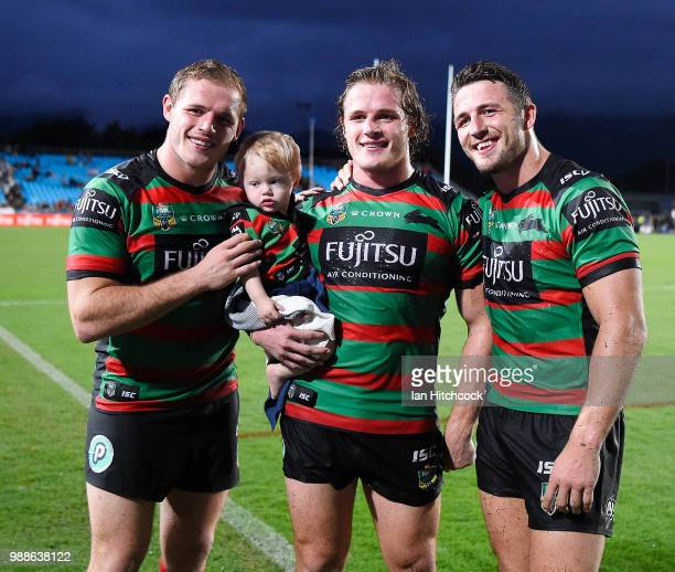 The Burgess brothers pose for a photo at the end of the round 16 NRL match between the South Sydney Rabbitohs and the North Queensland Cowboys at...