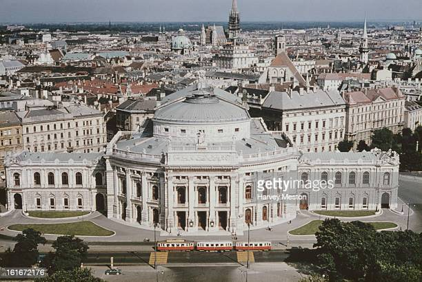 The Burgtheater on the Ringstrasse in Vienna Austria as seen from the top of the Rathaus circa 1960