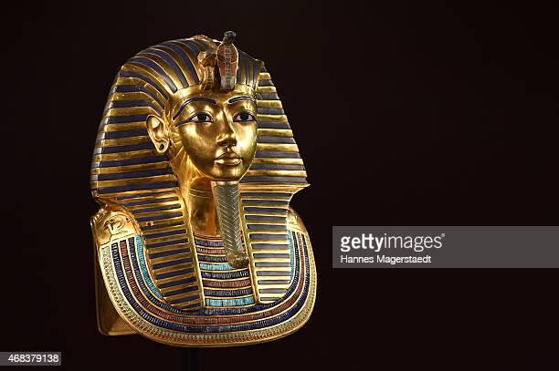 The burial mask of Egyptian Pharaoh Tutankhamun is shown during the 'Tutanchamun - Sein Grab und die Schaetze' Exhibition Preview at Kleine...