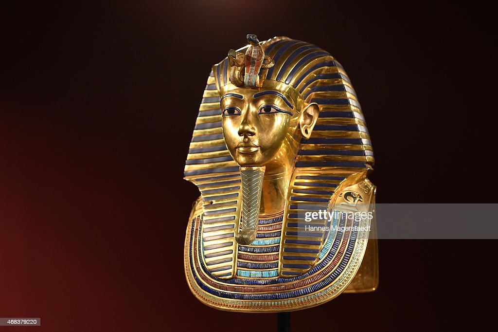 The burial mask of Egyptian Pharaoh Tutankhamun is shown during the 'Tutanchamun - Sein Grab und die Schaetze' Exhibition Preview at Kleine Olympiahalle on April 2, 2015 in Munich, Germany.