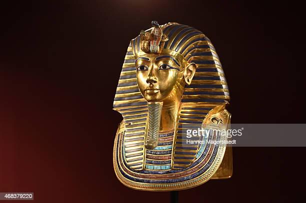 The burial mask of Egyptian Pharaoh Tutankhamun is shown during the 'Tutanchamun Sein Grab und die Schaetze' Exhibition Preview at Kleine...