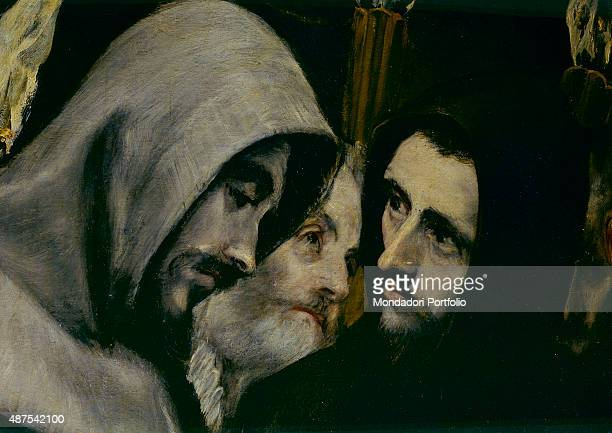 The Burial of the Count of Orgaz by El Greco 16th Century oil on canvas 480 x 360 cm Spain Toledo Church of Santo Tom Detail Closeup of two male...