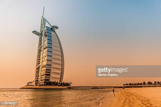 The Burj Al Arab during sunset