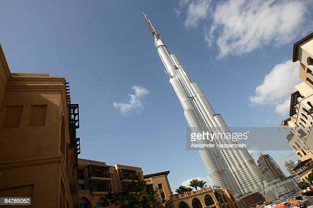 The Burj Dubai skyscraper stands over 800 meters and is currently the tallest structure built by men on January 4 2009 in Dubai United Arab Emirates