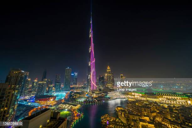 The Burj Khalifa glows from its base to its 2700 ft pinnacle with optimism for the new year.