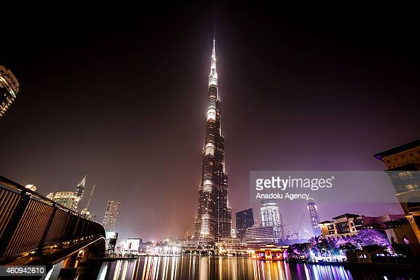 The Burj Khalifa the world's tallest tower is seen before the New Year's Eve celebrations in Dubai on December 31 2014