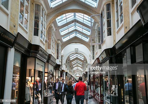 The Burlington Arcade shopping mall is viewed on September 12 in London England The collapse of Great Britain appears to have been greatly...