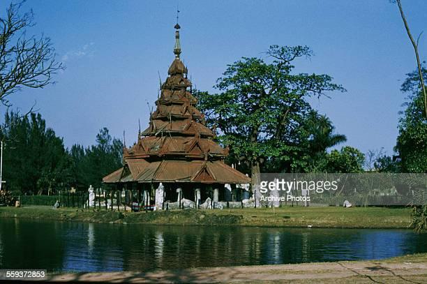 The Burmese pagoda in Eden Gardens Calcutta India circa 1965