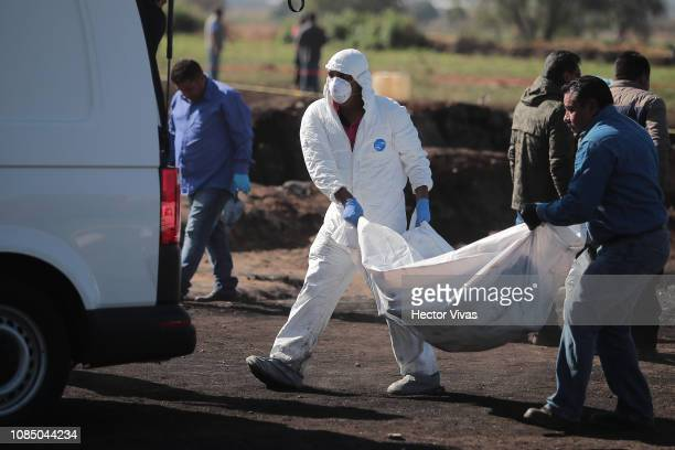 The burned bodies are placed in vans after an explosion in a pipeline belonging to Mexican oil company PEMEX on January 19 2019 in Tlahuelilpan...