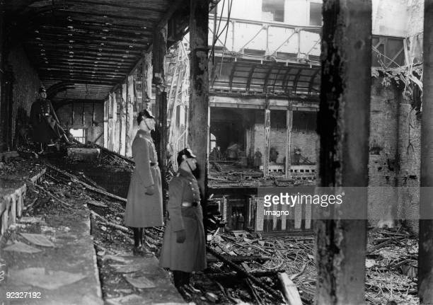 The burned down plenary sessions hall of the Reichstag Berlin Germany Photograph February 28th 1933