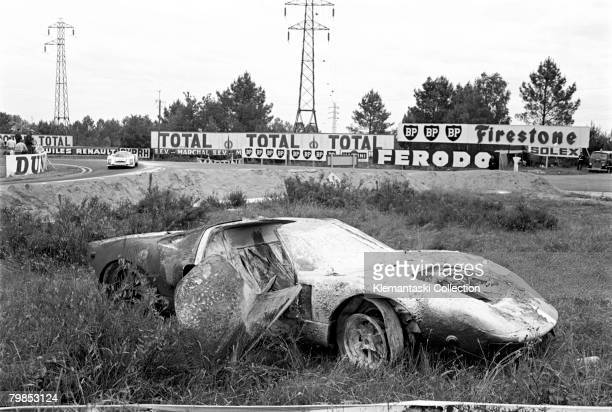 The burned out Ford GT40 of Mike Salmon and Brian Redman during The 24 Hours of Le Mans race Le Mans June 1011 1967 For Salmon it was a really scary...