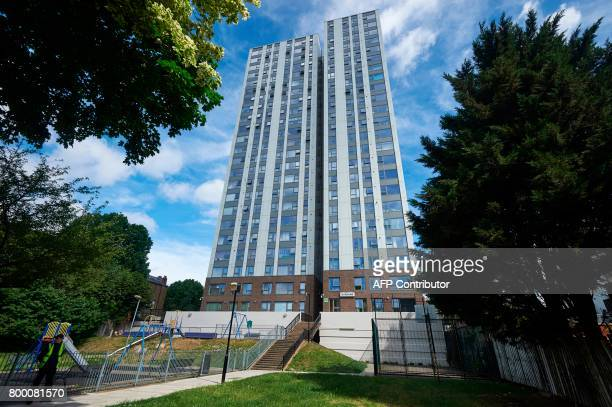 The Burnham residential tower block is seen on the Chalcots Estate in north London on June 23 2017 Tower blocks housing thousands of people across...