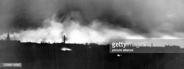 The burning city of Dresden after the bombing attacks by the Allies the British Royal Airforce and the United States Army Air Forces in the night...