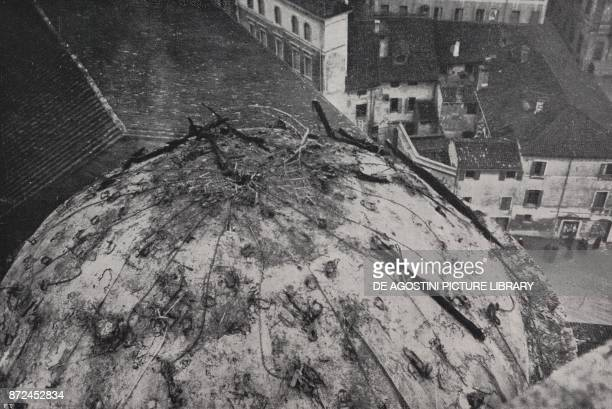 The burning dome of the Carmine church after being hit by a bomb Padua Italy World War I from l'Illustrazione Italiana Year XLV No 2 January 13 1918