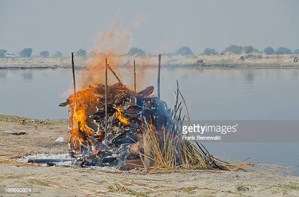 The burning fire of a cremation ceremony