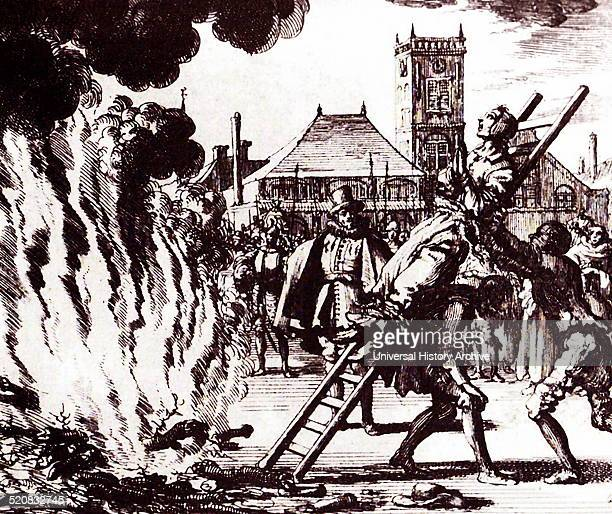 The burning of a 16th century Dutch Anabaptist Anneken Hendriks who was charged by the Spanish Inquisition with heresy Amsterdam 1571 Engraving by...