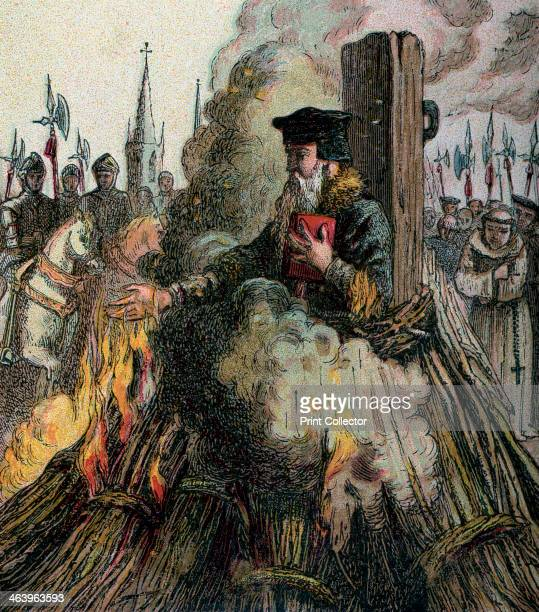 'The Burning Of Cranmer' . Thomas Cranmer was one of the first Anglican martyrs burned for heresy in 1556. Colour plate from Pictures of English...