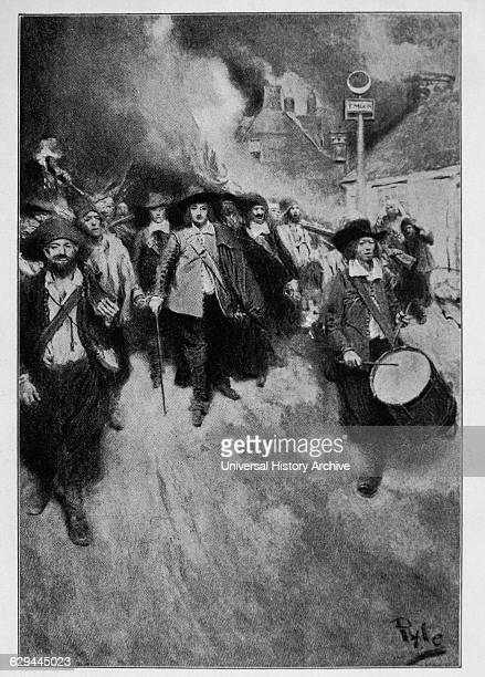 The Burning of Jamestown by Howard Pyle Nathaniel Bacon and His Followers Burning Jamestown Virginia During Bacon's Rebellion 1676
