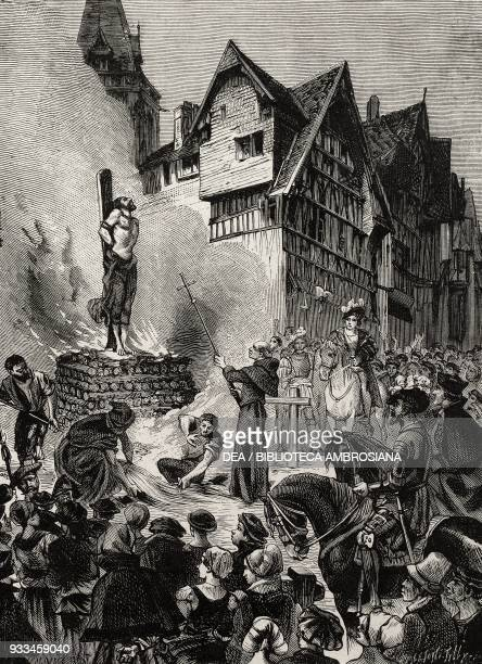 The burning of Michael Servetus The martyrs of science by Gaston Tissandier engraving from L'IIllustrazione Italiana no 52 December 24 1882